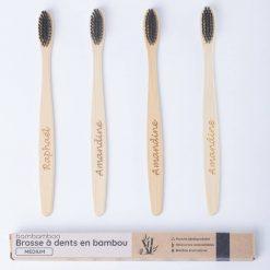 4 brosses à dents en bambou personnalisées