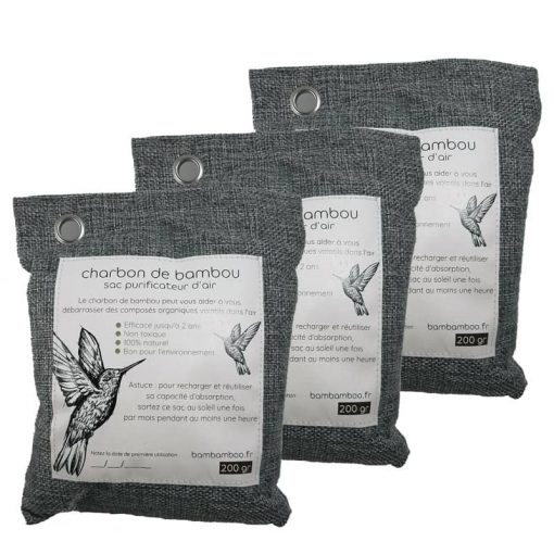 3 sacs de charbon de bambou actif