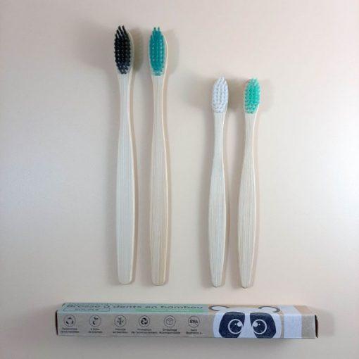 4 brosses à dents pack famille adultes et enfants