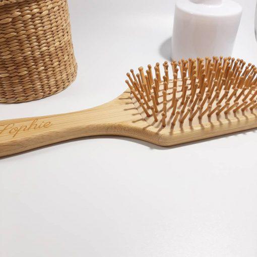brosse a cheveux bambou déco
